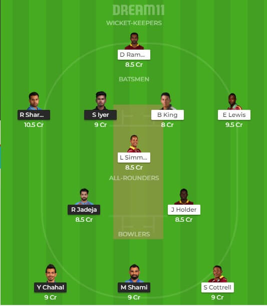 India vs west indies dream11 tips