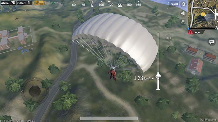 Parachute in a less popular area