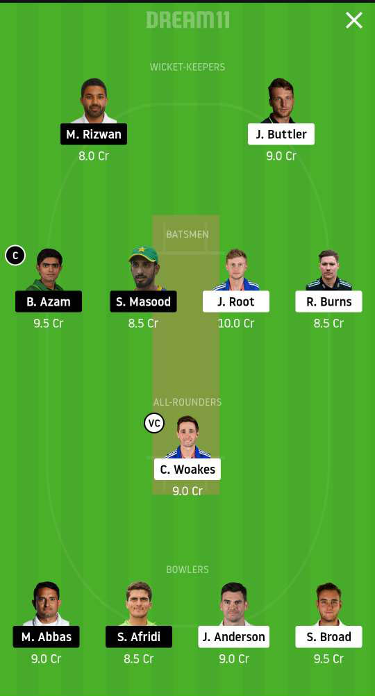 ENG vs PAK Dream11 team - 2