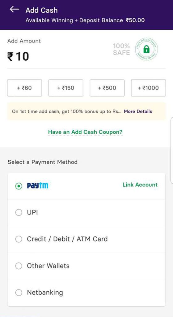 How to make a deposit on Gamezy
