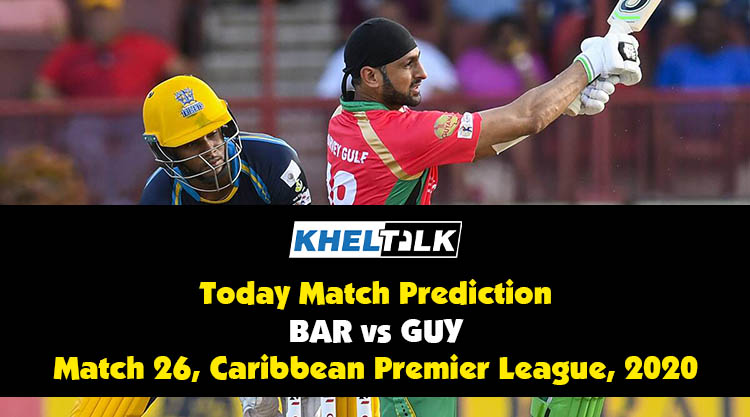 CPL 2020: GUY vs BAR | Today Match Prediction | Who will win the match | 4th September
