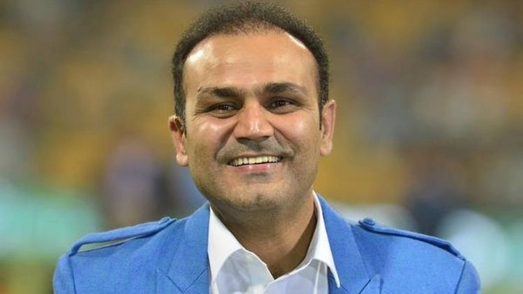 Virender Sehwag reacts in his style
