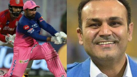 """""""Mata aa Gayi,"""" Virender Sehwag hilariously reacts to RR all-rounder knock against KXIP"""