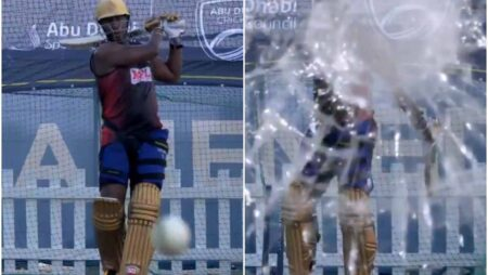 Watch: Andre Russell shatters the camera glass with his brilliant stroke during nets