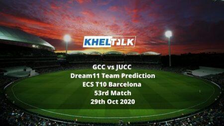 GCC vs JUCC Dream11 Team Prediction | ECS T10 Barcelona | 53rd Match | 29th Oct 2020