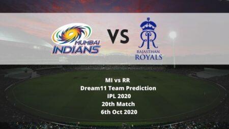 MI vs RR Dream11 Team Prediction | IPL 2020 | 20th Match | 6th Oct 2020