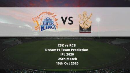 CSK vs RCB Dream11 Team Prediction | IPL 2020 | 25th Match | 10th Oct 2020