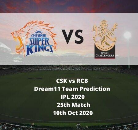 CSK vs RCB Dream11 Team Prediction   IPL 2020   25th Match   10th Oct 2020