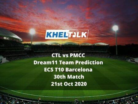 CTL vs PMCC Dream11 Team Prediction | ECS T10 Barcelona | 30th Match | 21st Oct 2020