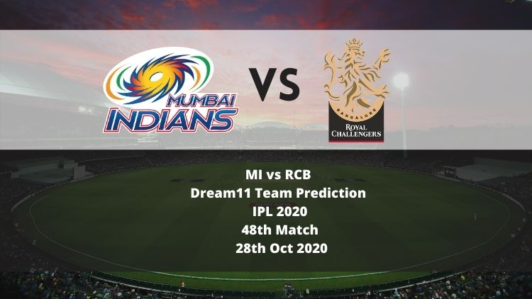 MI vs RCB Dream11 Team Prediction   IPL 2020   48th Match ...