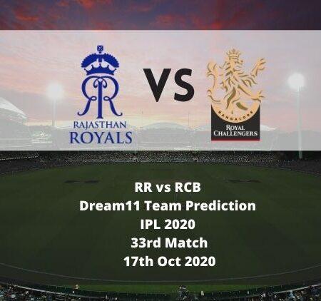 RR vs RCB Dream11 Team Prediction | IPL 2020 | 33rd Match | 17th Oct 2020