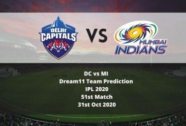 DC vs MI Dream11 Team Prediction | IPL 2020 | 51st Match | 31st Oct 2020