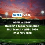 AS-W vs ST-W Dream11 Team Prediction   50th Match   WBBL 2020   21st Nov 2020