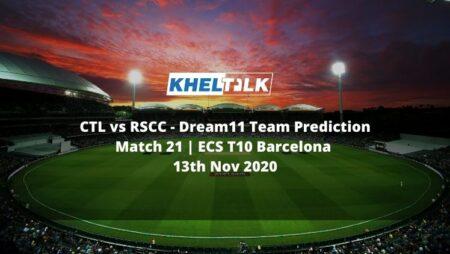 CTL vs RSCC Dream11 Team Prediction | Match 21 | ECS T10 Barcelona | 13th Nov 2020