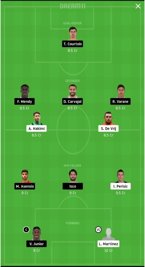 INT vs RM Dream11 Match Prediction   Football Fantasy   UEFA Champions League   26 Nov 2020 - Head to Head
