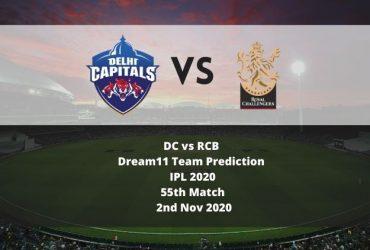 DC vs RCB Dream11 Team Prediction | IPL 2020 | 55th Match | 2nd Nov 2020