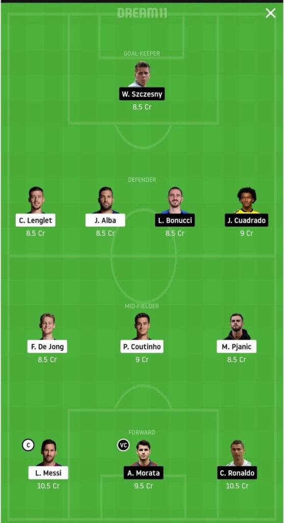 BAR vs JUV Dream11 Match Prediction _ Group G _ Champions League _ Fantasy Football _ 9th Dec 2020 Grand League