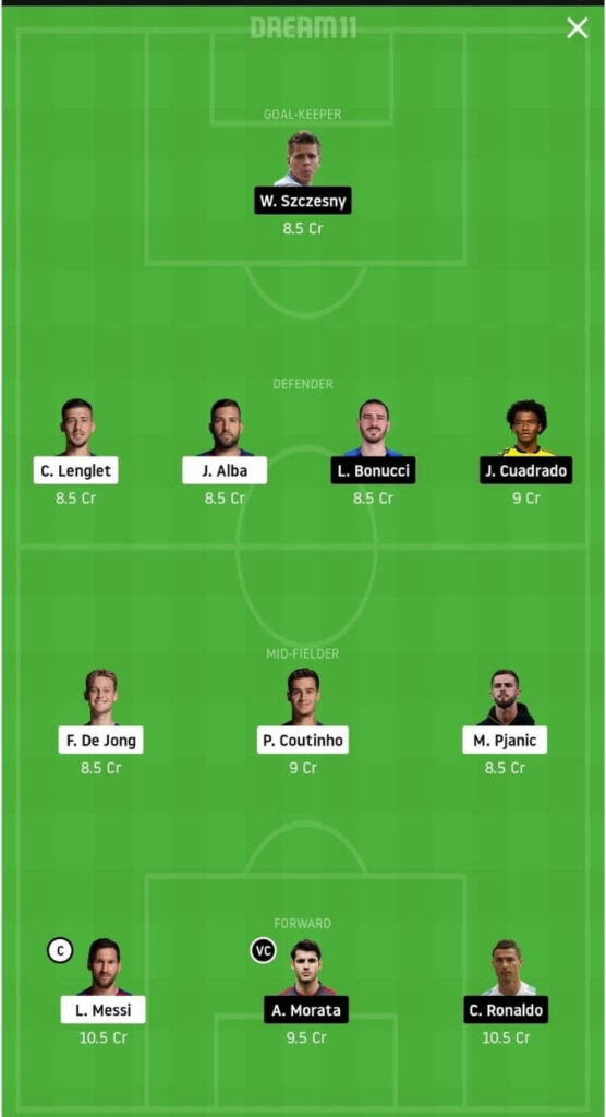 BAR vs JUV Dream11 Match Prediction _ Group G _ Champions League _ Fantasy Football _ 9th Dec 2020 Grand League