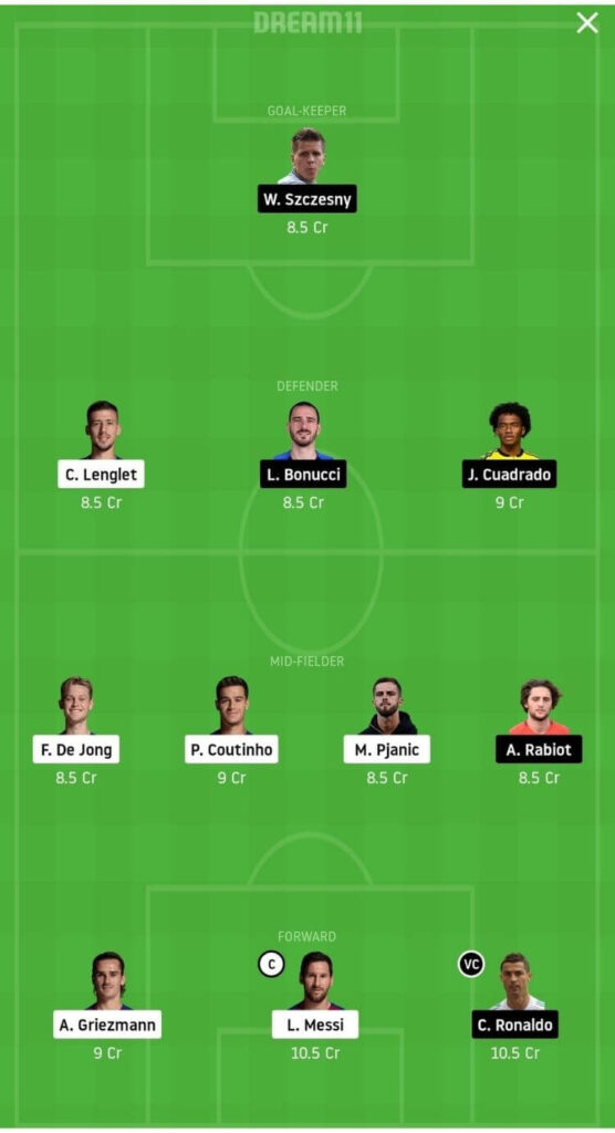 BAR vs JUV Dream11 Match Prediction _ Group G _ Champions League _ Fantasy Football _ 9th Dec 2020 Head to Head