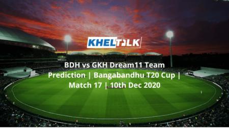 BDH vs GKH Dream11 Team Prediction   Bangabandhu T20 Cup   Match 17   10th Dec 2020