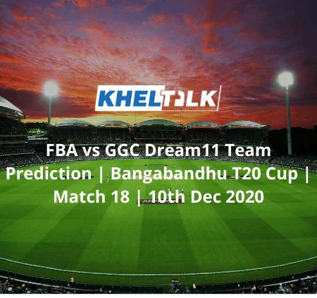 FBA vs GGC Dream11 Team Prediction | Bangabandhu T20 Cup | Match 18 | 10th Dec 2020