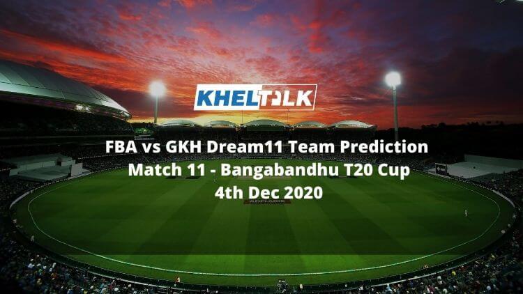 FBA vs GKH Dream11 Team Prediction | Match 11 | Bangabandhu T20 Cup | 11th match | 4th Dec 2020