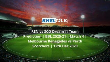 REN vs SCO Dream11 Team Prediction   BBL 2020-21   Match 4   Melbourne Renegades vs Perth Scorchers   12th Dec 2020
