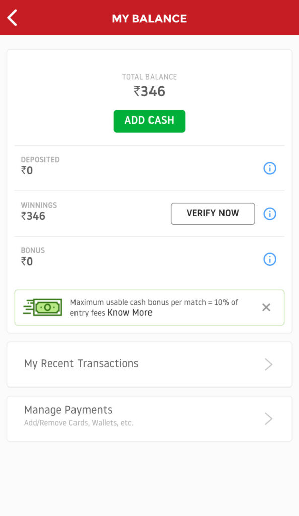 deposit money in Dream11?