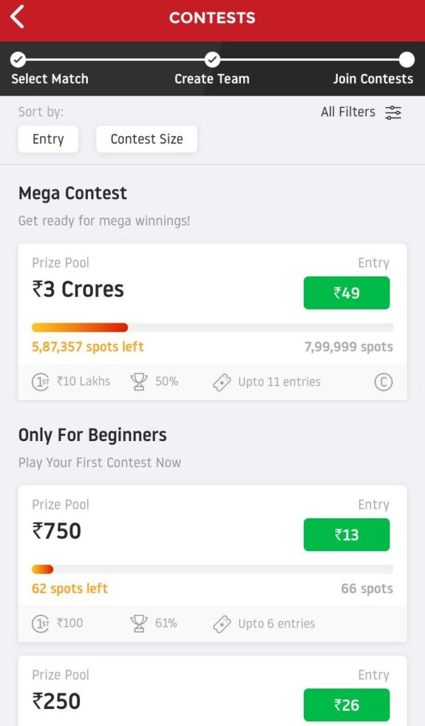 Join Contests Dream11 Predictions