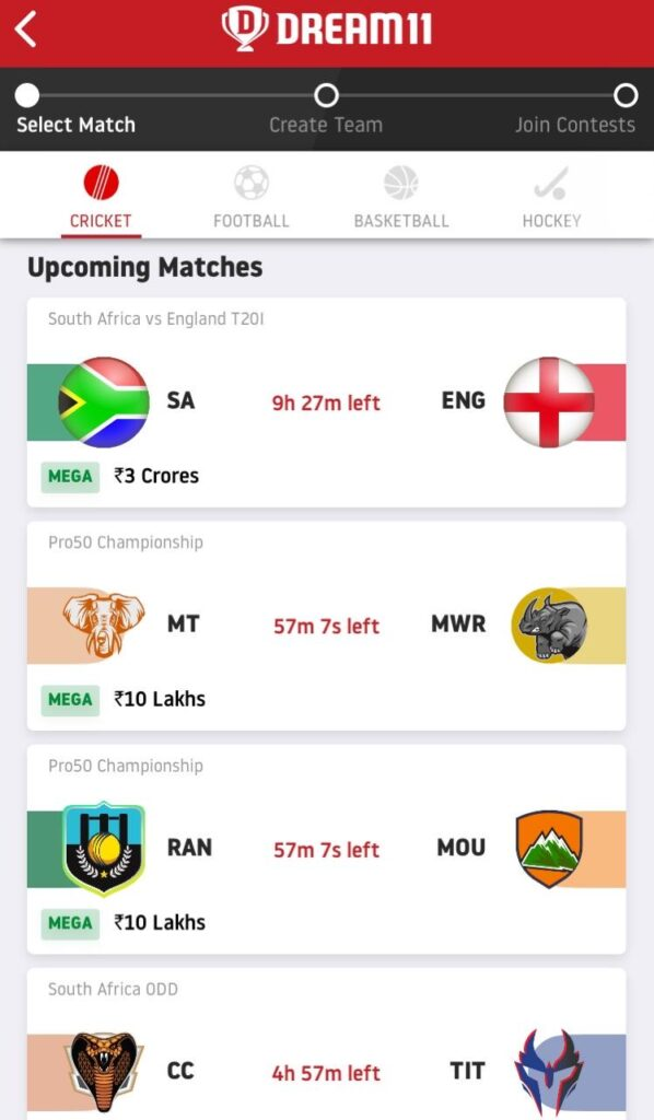 Select Match Dream11 Predictions