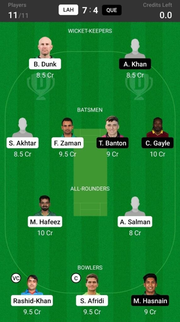 Grand League Team For Lahore Qalandars vs Quetta Gladiators