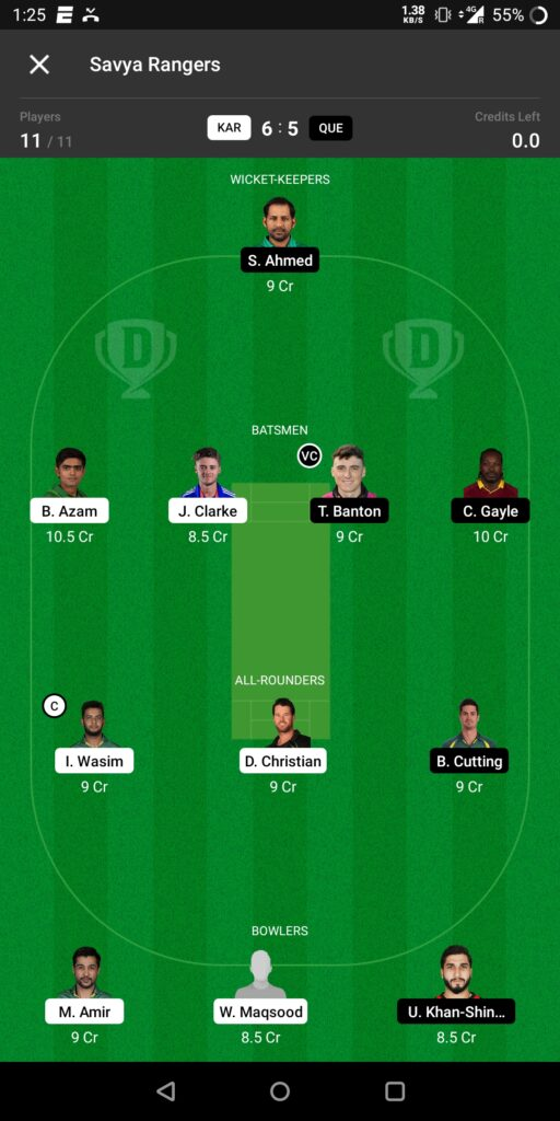 Grand League Team For Karachi vs Quetta Gladiators
