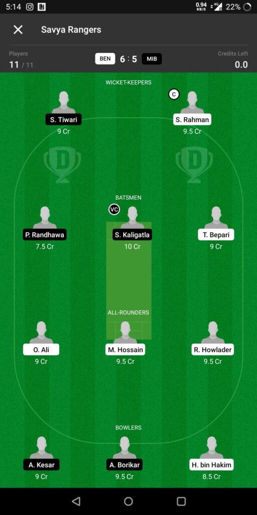 Grand League Team For Prediction BEN vs MIB