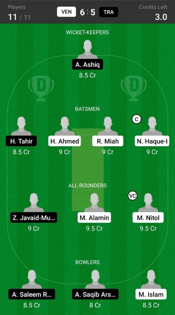 Head to Head Dream11 Team Prediction VEN vs TRA