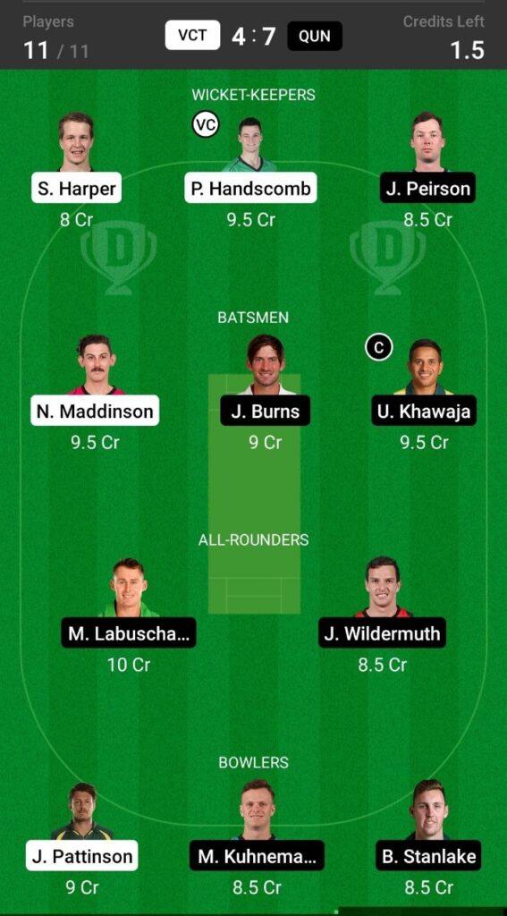 Head To Head Team For Victoria vs Queensland