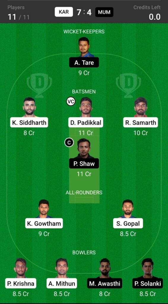 Grand League Team For Karnataka vs Mumbai