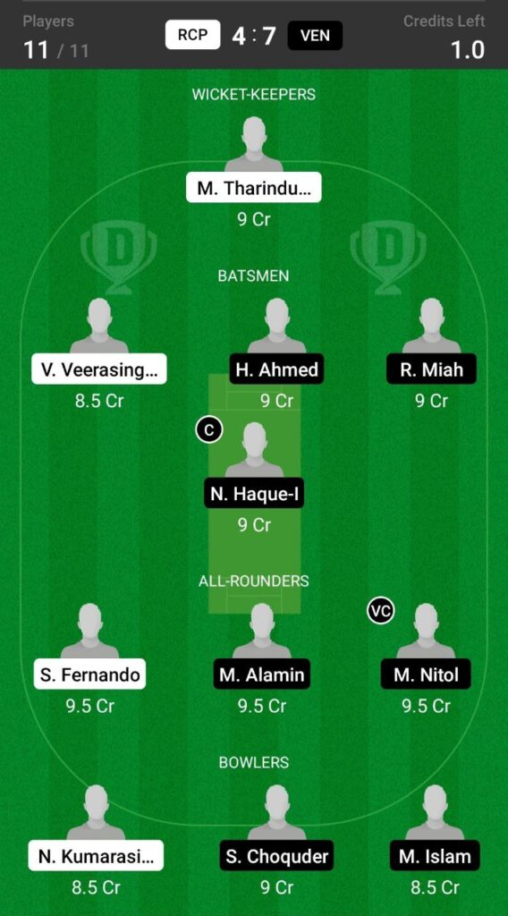 Head to Head Dream11 Team Prediction RCP vs VEN