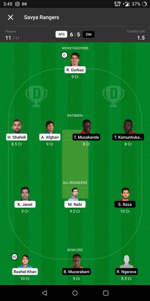 Grand League Team For Afghanistan vs Zimbabwe