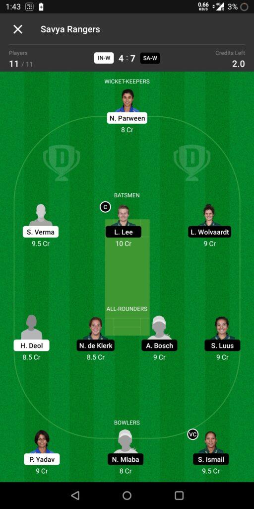 Grand League Team For India Women vs South Africa Women