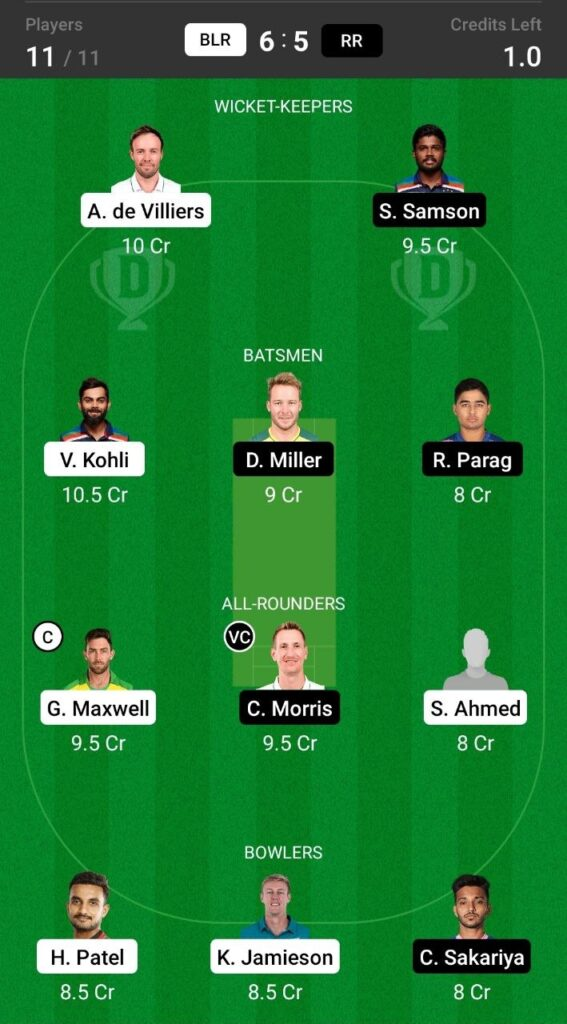 Grand League Team For Royal Challengers Bangalore vs Rajasthan Royals
