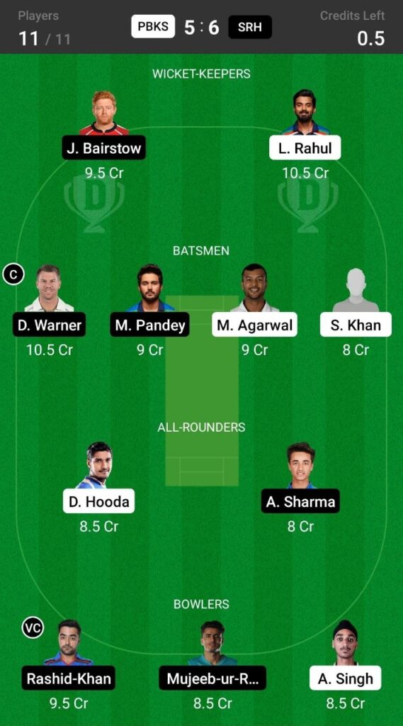 Grand League Team For Punjab Kings vs Sunrisers Hyderabad