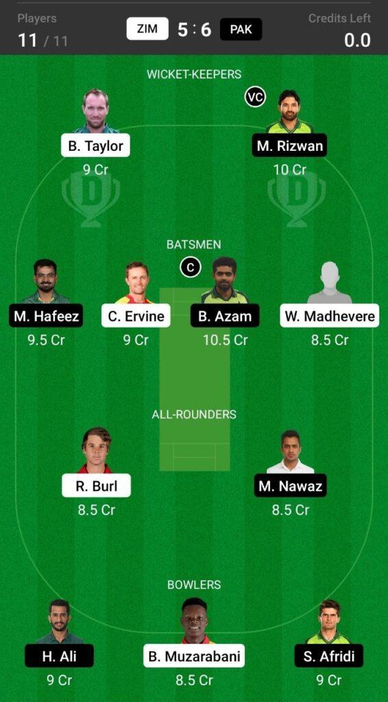 Grand League Team For Zimbabwe vs Pakistan