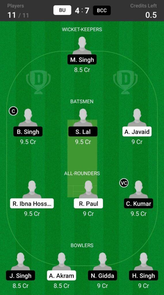 Grand League Team For BU vs BCC