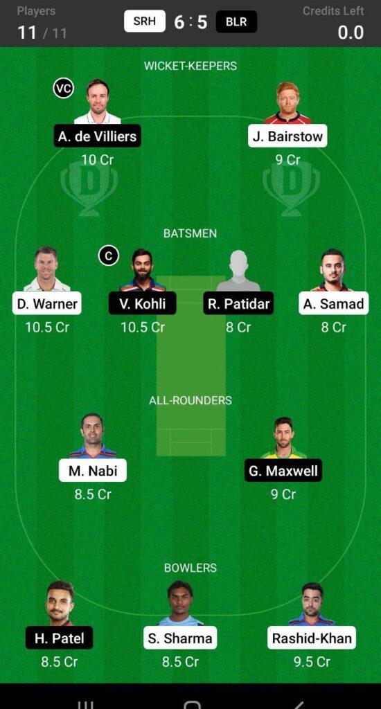 Grand League Team For SRH vs RCB