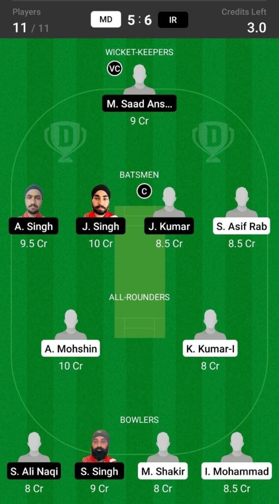 Head to Head Dream11 Team Prediction MD vs IR