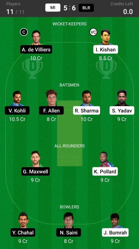 Grand League Team For Mumbai Indians vs Royal Challengers Bangalore