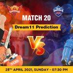 SRH vs DC Dream11 Prediction Match 20 Team by Expert IPL 25th April | Kheltalk Fantasy cricket