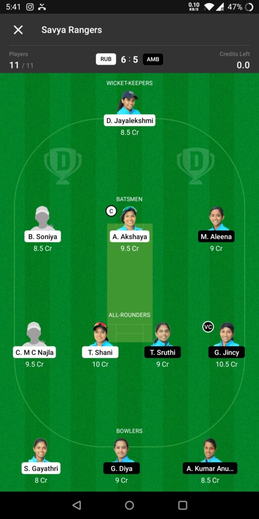 Grand League Team For RUB vs AMB