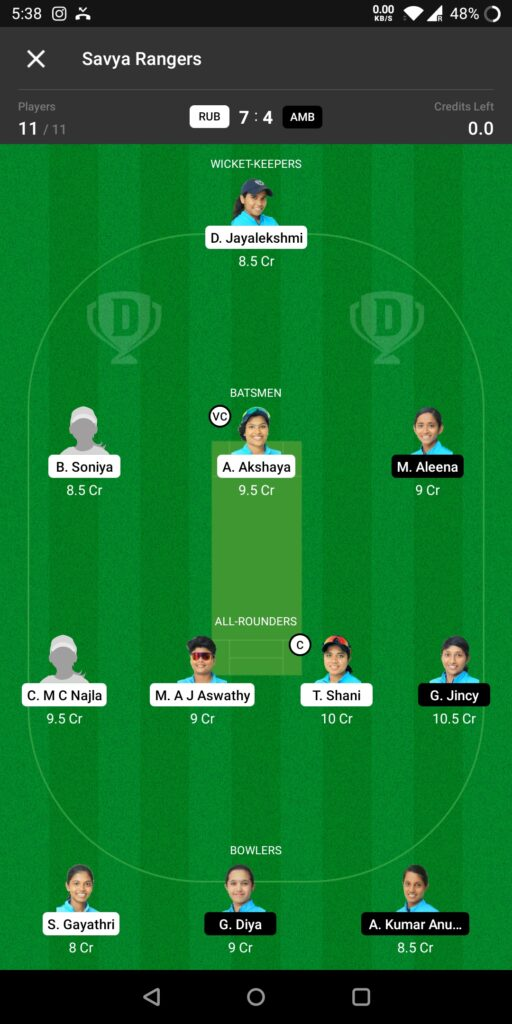 Head to Head Dream11 Team Prediction RUB vs AMB