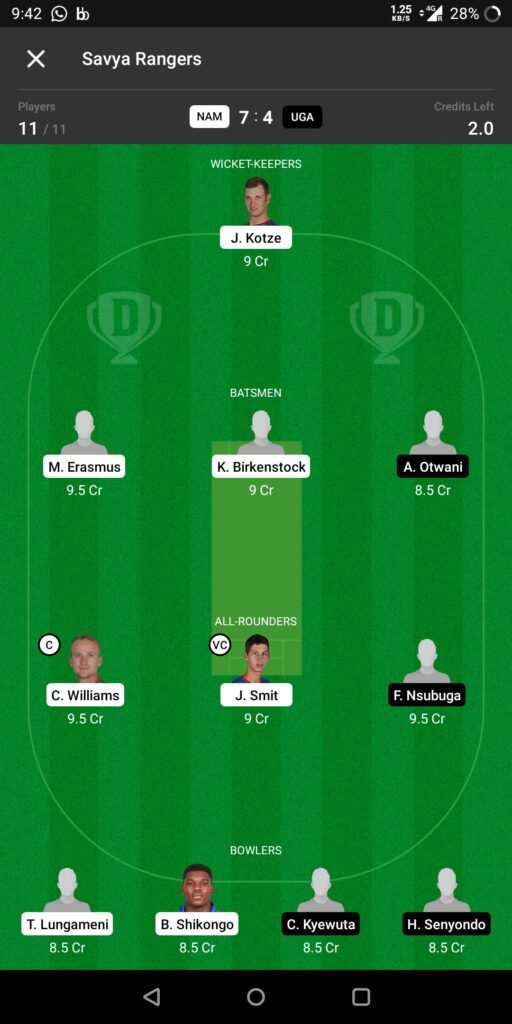 Head to Head Dream11 Team Prediction NAM vs UGA